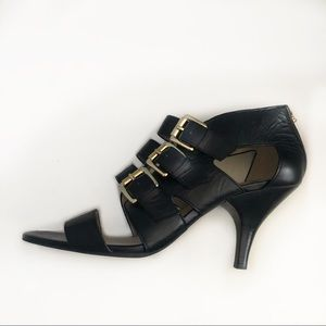 Michael Kors black strappy heels with buckles